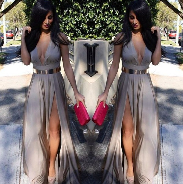 dress champagne maxi dress slit maxi skirt maxi skirt gold nude high heels nude dress taupe dress halter dress slit dress