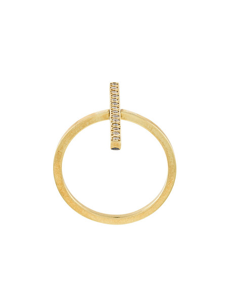Ileana Makri cross women ring gold grey metallic jewels