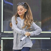 sweater,ariana grande,grey,comfy,comfy sweater,cute,disney,skinny,tumblr,tumblr girl,tumblr clothes,hair bow,make-up,jacket,cardigan,jeans