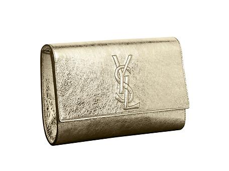 16b6ba4dc4f7 Yves Saint Laurent - US - Large Metallic Leather YSL Clutch in Gold ...