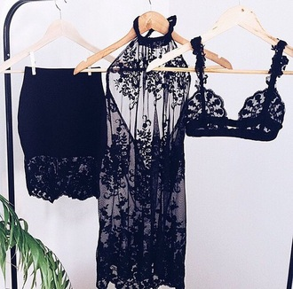 lace dress sexy dress black lingerie set dress skirt noir lace bralette bra underwear top lace black bra skirt black lace bra skirt dress blouse sexy seethrough underwear