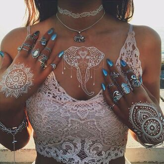 henna lace top crop tops white crop tops knuckle ring ring burning man festival music festival