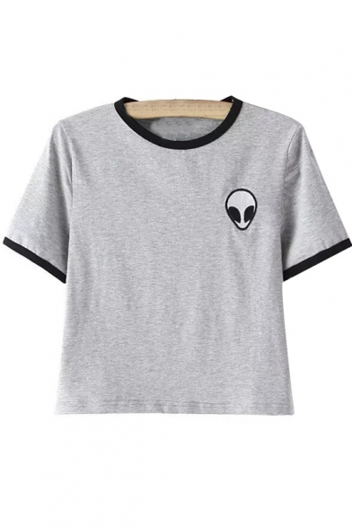 Alien Embroidery Color Block Short Sleeve Cropped Tee