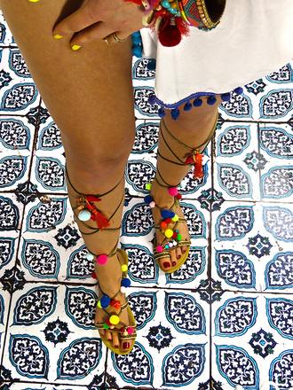 shoes pompom girl pink pompom sandals flat sandals cute sandals girly summer elina