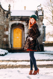 the clothes,blogger,grid,pom pom beanie,winter coat,hat,coat,sweater,skirt,tights,shoes,gloves