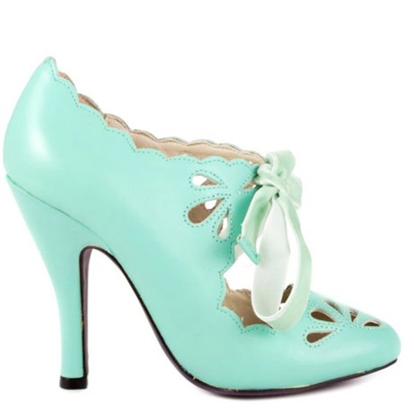 green shoes high heels mint green mint green shoes pretty lace unique sexy shoes teal, blue, pink, heel, heels, shoes, pumps, jeffery campbell, litas, clothes, dress, cute, lace, lace up, boot, booties, boots,