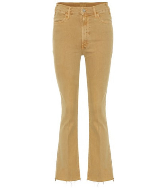 Mother Hustler high-rise bootcut jeans in beige / beige