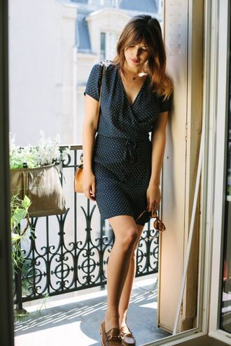 dress jeanne damas blue dress wrap dress v neck dress short dress summer dress shoes brown shoes bag brown bag summer outfits