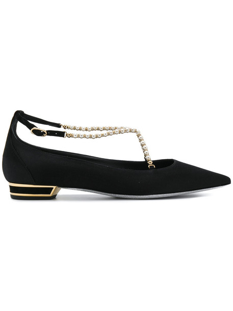 René Caovilla women pearl leather black satin shoes