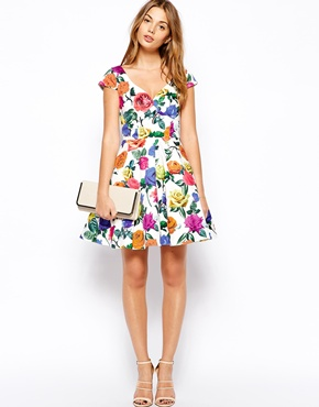 ASOS Petite | ASOS PETITE Exclusive Bardot Dress in Multi Color Floral at ASOS