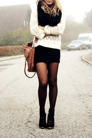 sweater knitted white black cute winter scarf shoes skirt adorable perfect pretty girly