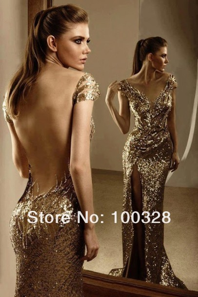Aliexpress.com : buy vestido de festa real made 2014 new arrival sexy sequined sheath floor length v neck cap sleeve lace gold evening dress from reliable lace up dance shoes suppliers on rose wedding dress co., ltd