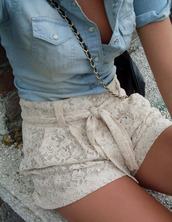 shorts,lace,crochet,crochet shorts,white,ivory,cream,trendy,tan,shirt,denim shirt,button up,outfit,beautiful,@clothes,@lace,bag,cute,beige shorts,flowers,blouse,jeans,beige,lace bow,bow,High waisted shorts,high waisted,belt,lave,summer,spring,fashion,living,cutesweet,pants,floral,knit,dress,blouse lace shorts,denim,hipster,vintage,short pants,now,denim top,pockets,handbag