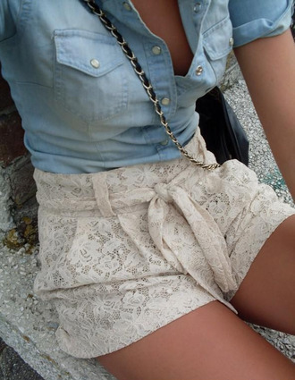shorts lace crochet crochet shorts white ivory cream trendy tan shirt beige lace bow bow high waisted shorts high waisted belt lave bag cute summer spring fashion living cutesweet pants floral flowers knit blouse now