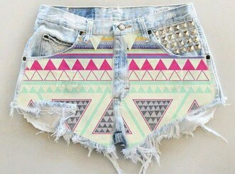 shorts aztec ethnic jeans pink light blue clous