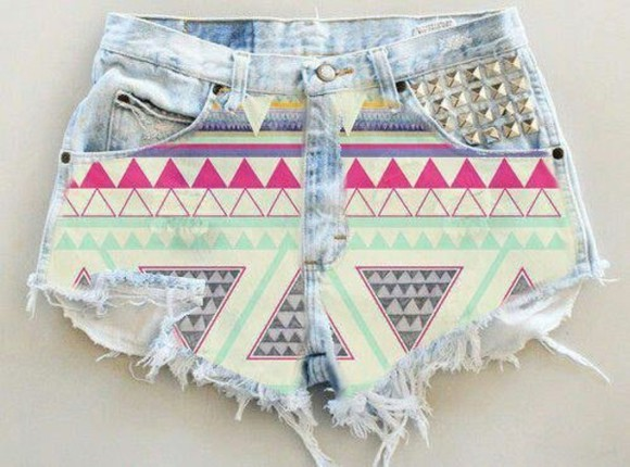 ethnic aztec shorts jeans pink light blue clous