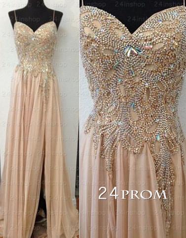 Champagne Chiffon Beaded Long Prom Dresses, Formal Dresses - 24prom