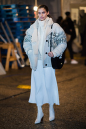 skirt,sweater,midi skirt,jacket,winter outfits,model off-duty,sara sampaio,ny fashion week 2017,fashion week 2017,nyfw 2017,all white everything