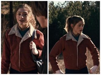 jacket stranger things vintage tv/movies 1980's brown jacket shearling jacket
