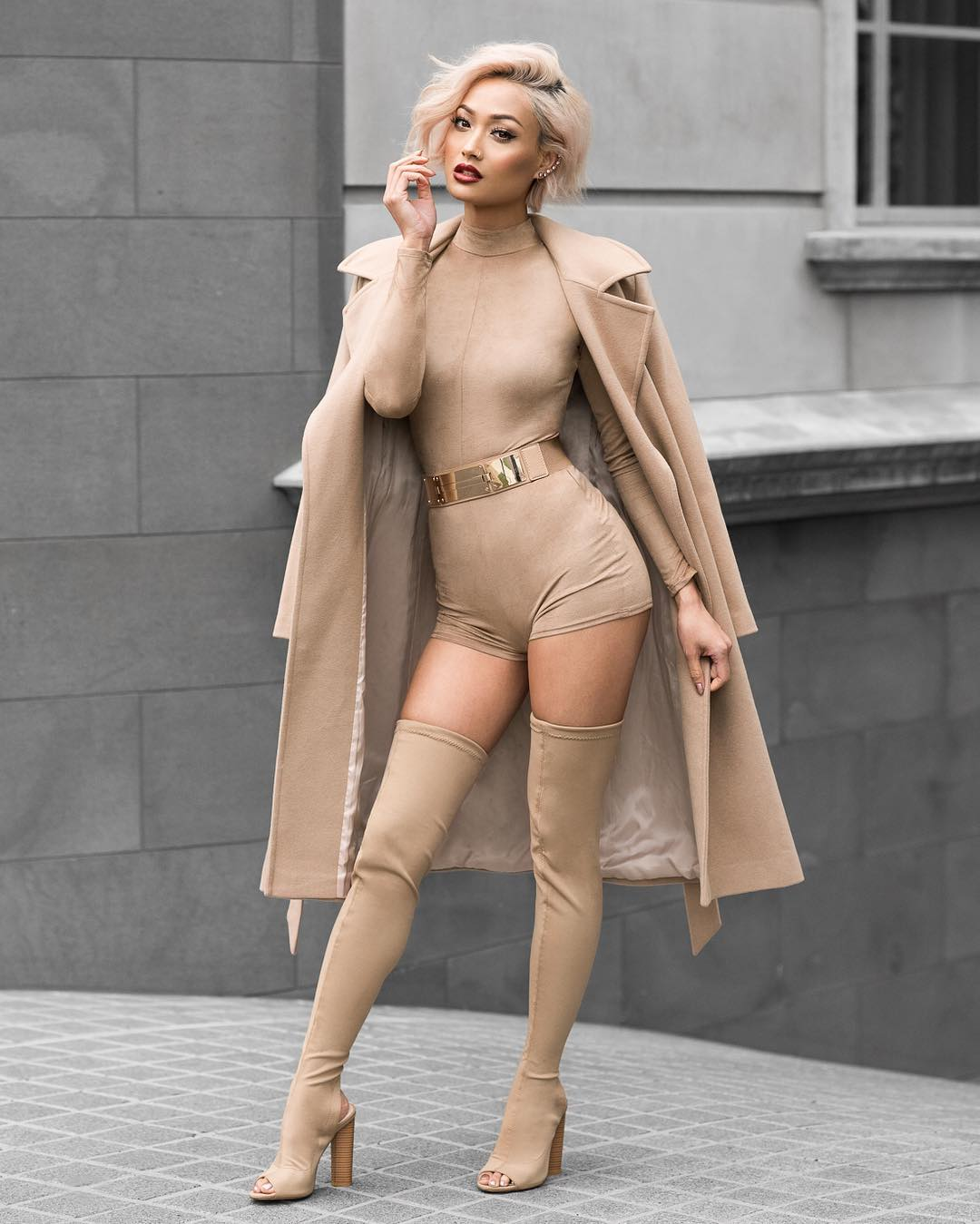 """MICAH GIANNELI on Instagram: """"I'm back! And serving up some nude monochromatic superhero realness ✨ Romper @fashionnova [use MICAH for $off] // Boots @publicdesire 😘"""""""