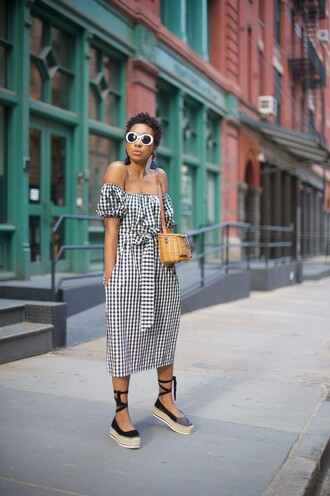 dress tumblr midi dress gingham off the shoulder off the shoulder dress spring outfits spring dress espadrilles black shoes shoes bag basket bag sunglasses white sunglasses vichy print woven bag accent earrings gingham dresses black flats brown bag blogger round sunglasses