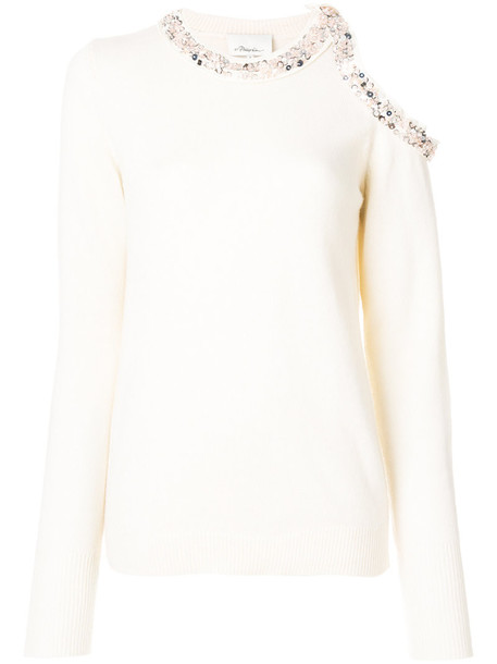 3.1 Phillip Lim jumper women embellished cold nude silk sweater