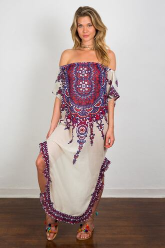 dress cover up print purple red soah bikiniluxe
