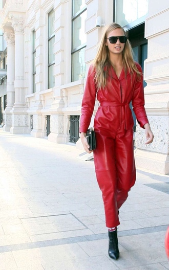 jumpsuit romee strijd red pants sunglasses streetstyle milan fashion week 2017 fashion week 2017 model off-duty