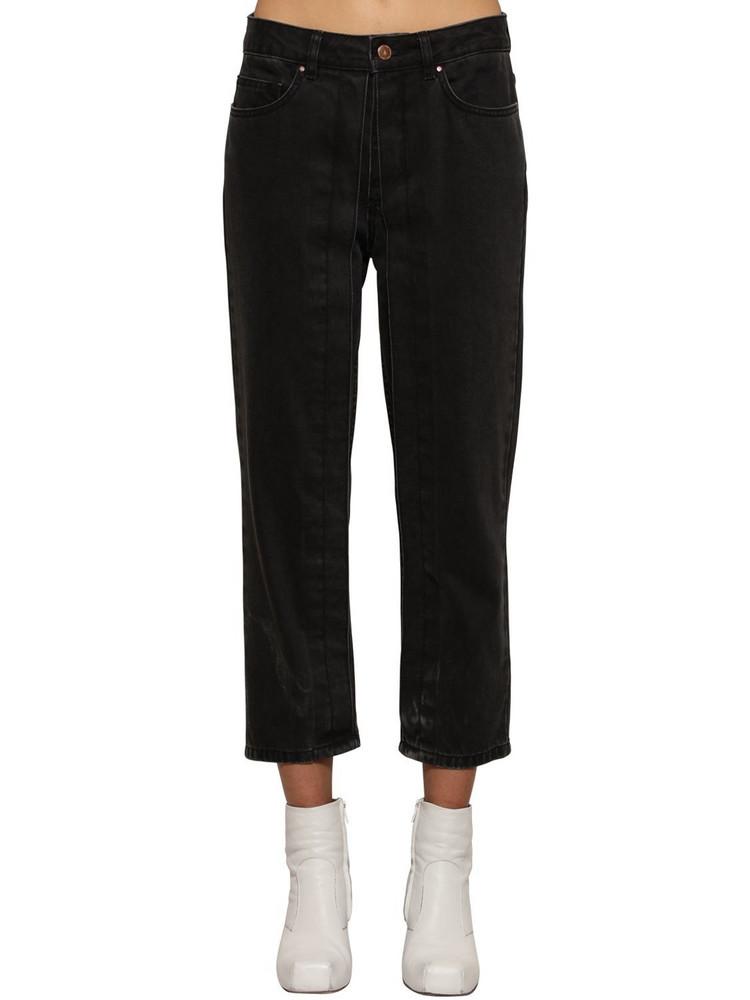 AALTO Fixed Pleats Cropped Denim Jeans in black