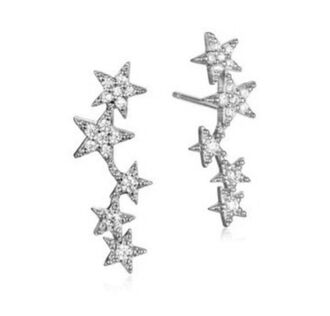 jewels tai jewelry tai earrings silver stars star earrings sparkle ear crawlers ear climber stars earrings star jewelry