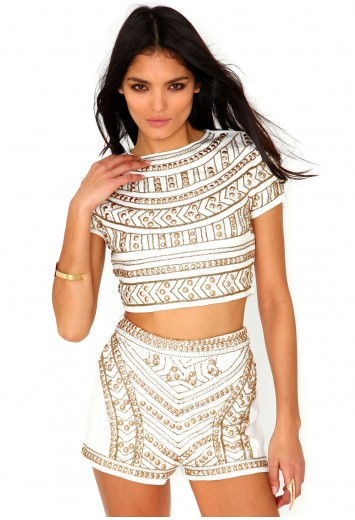 Missguided Premium Embellished Shorts In Cream