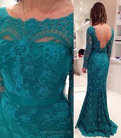 coat,turquoise,dress,lace,open back,fashion,trendy,long sleeves,formal,prom,dressofgirl
