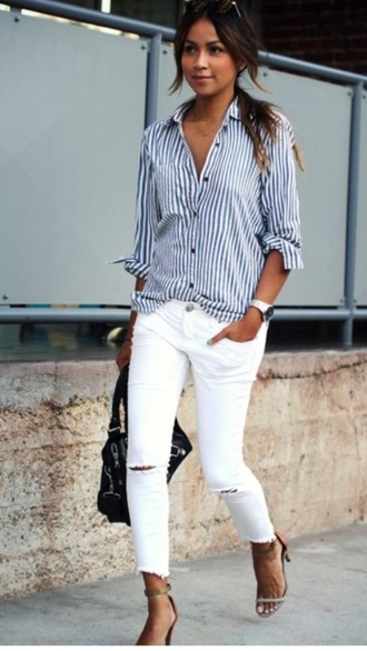 blouse jeans blue and white stripes button down shirt casual white slashed jeans need this shirt