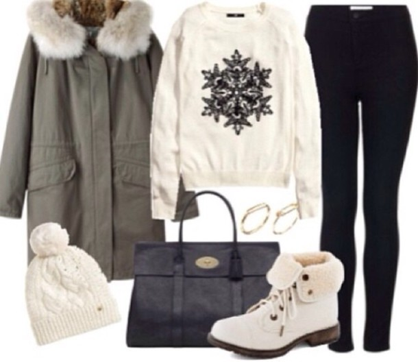 Coat Green White Sweater Black Purse Pretty Vintage Cute Outfits Outfit Winter