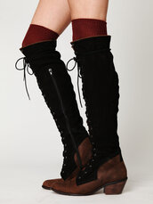 shoes,black,brown,leather,knee high,wooden heel,lace up boots,zip-up