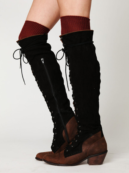 shoes black wooden heel brown leather knee high lace up boots zip-up