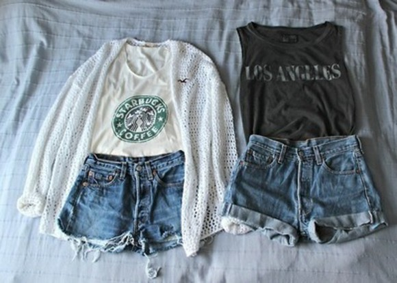 shorts white tank top starbucks navy blue hollister nitted cartigan highwaisted denim shorts top shirt tumblr shirts muscle tank white starbucks shirt tank top, t-shirt, starbucks los angeles sweater cardigan