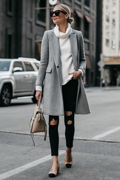 fashionjackson,blogger,sweater,coat,shoes,bag,sunglasses,jewels,fall outfits,grey coat,handbag,black jeans,tumblr,white sweater,knit,knitwear,knitted sweater,turtleneck,turtleneck sweater,denim,jeans,ripped jeans