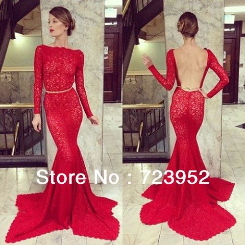 Aliexpress.com : buy custom made long red backless lace mermaid eevening dress formal gowns with long sleeves from reliable gown prom suppliers on suzhou aee wedding dress co. , ltd