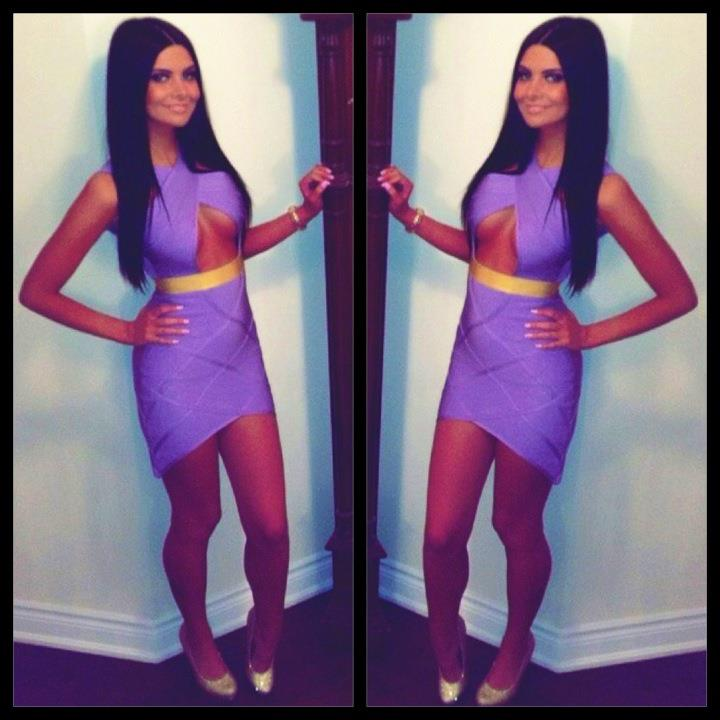 Clothing : Dresses : Bandage Dresses : 'Gemma' Lilac & Gold Keyhole Bandage Dress