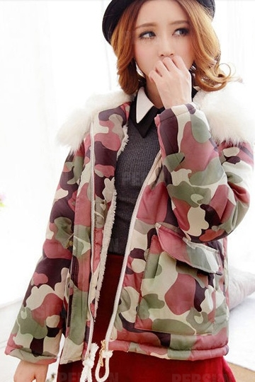 Fur Collar Camouflage Coat with String [HT00013] - PersunMall.com