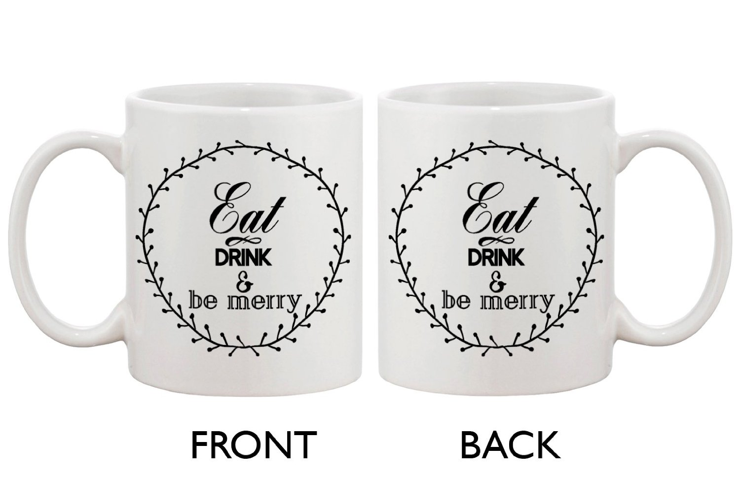 com eat drink and be merry mugs for holiday christmas gift idea