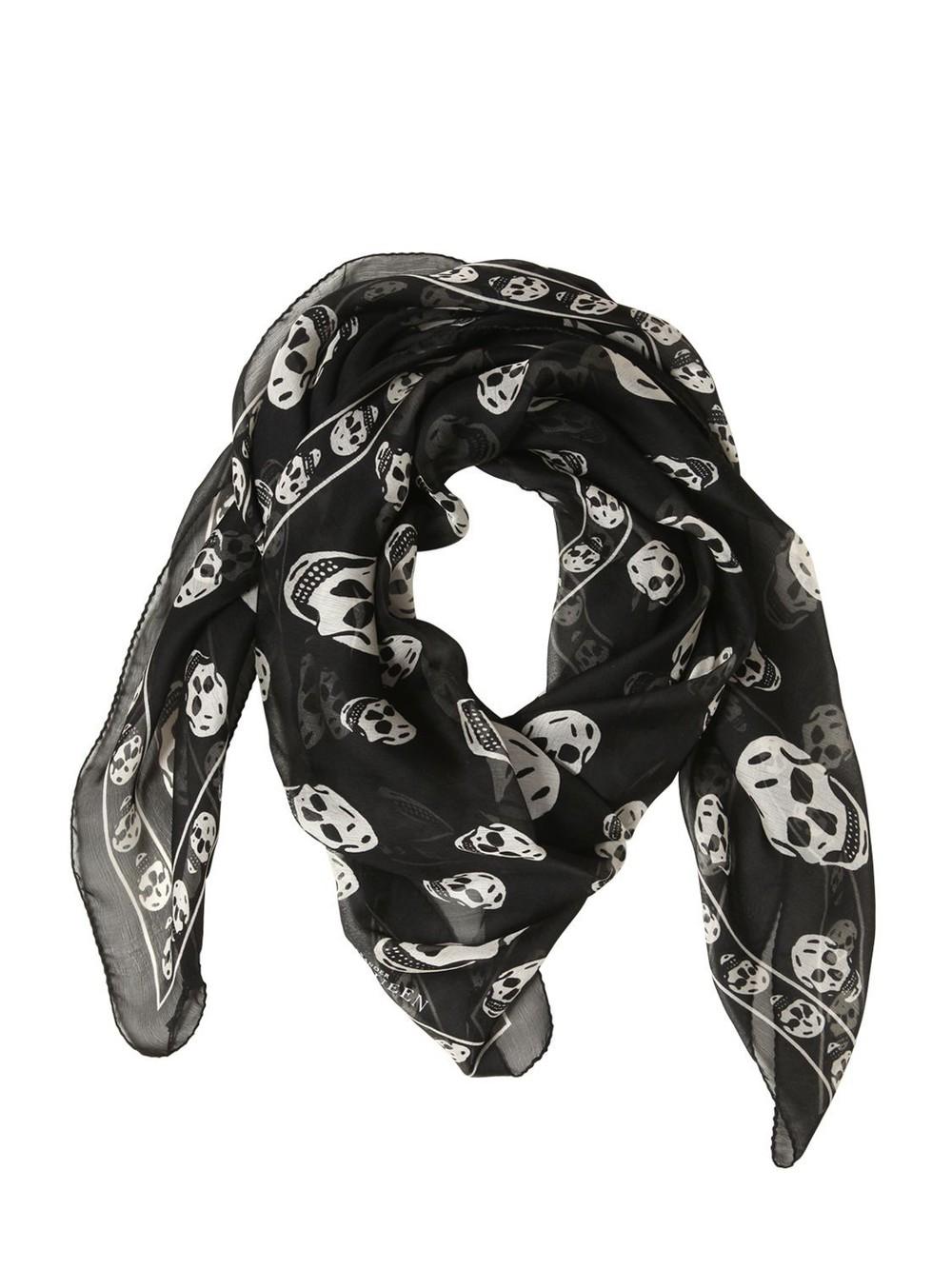 a35f6f693 ALEXANDER MCQUEEN Skull Printed Silk Chiffon Scarf in black / white