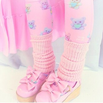 tights pastel pink stockings hosiery teddy bear kawaii shoes kawaii bow shoes bows lolita lolita shoes decora girly leg warmers kawaii accessory