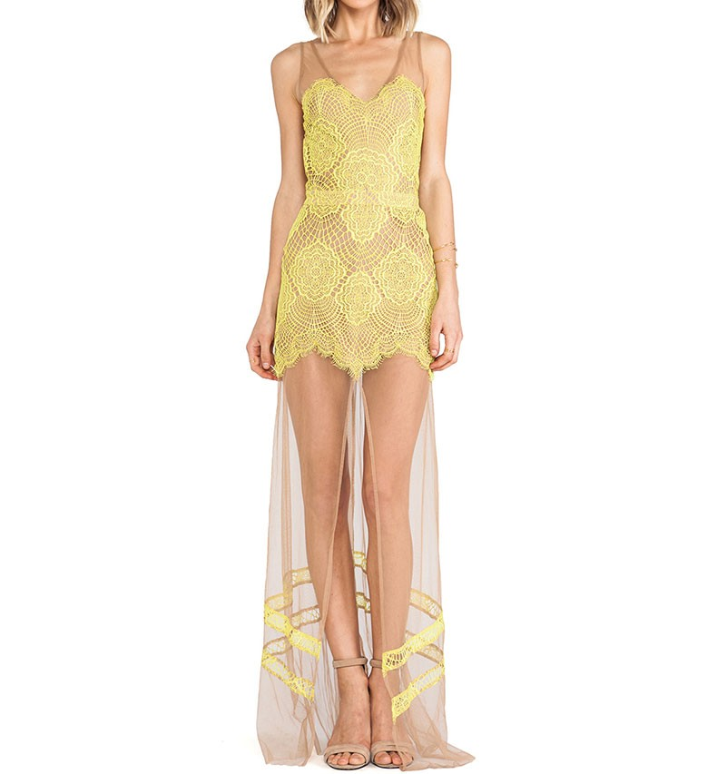 Yellow Lace Mesh Gown With Thigh Split