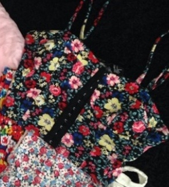 top flowers floral flower print purse floral tank top zip clips crop tops