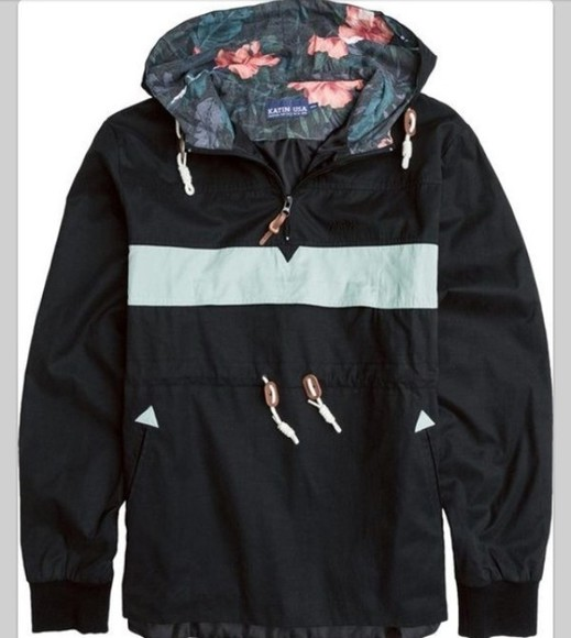 jacket black teal floral hood windbreaker
