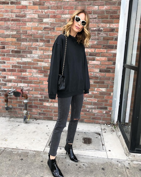 sweater black sweater black jeans boots black boots sunglasses jeans denim ankle boots