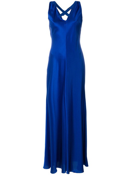 Alberta Ferretti gown women blue silk dress