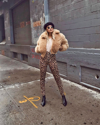 hat tumblr beret jacket nude jacket cropped jacket pants leopard print boots black boots ankle boots sunglasses weworewhat